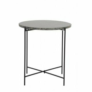 Marble top, side table with black metal legs Image