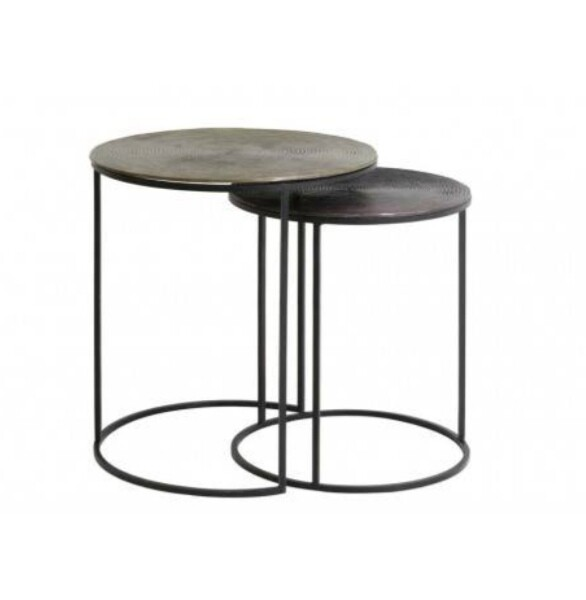 Spiral pattern, Antique bronze and antique black circular side tables (set of two) Image