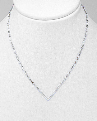 Sterling Silver Chevron Necklace.  Image