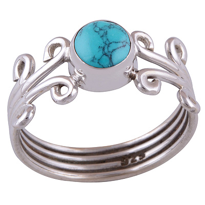 Sterling Silver Turquoise Ring Size 8 Image