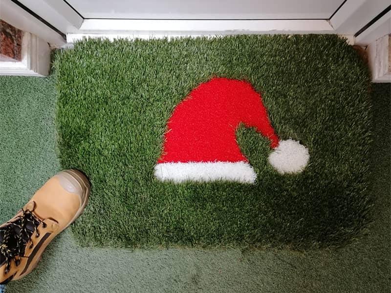 Santa Hat Door Mat (Artificial Grass) Image