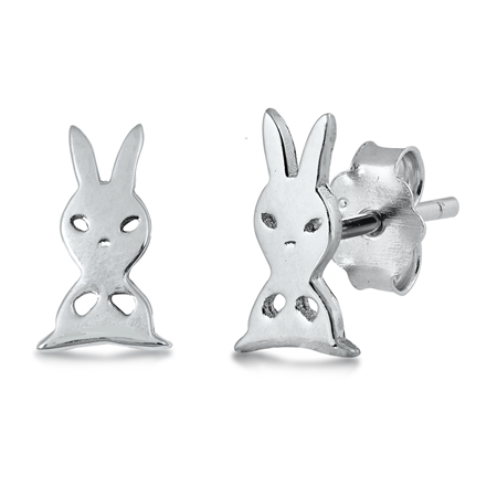 Rabbit Silver Stud Earrings Image