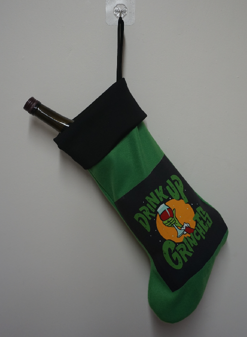 "Funny Adult Christmas stocking ""Drink up Grinches"" Image"