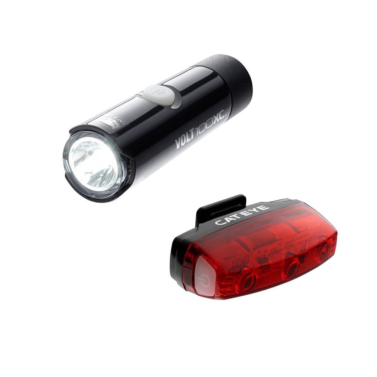 CATEYE VOLT 100 XC FRONT LIGHT & RAPID MICRO REAR USB RECHARGEABLE LIGHT SET Image