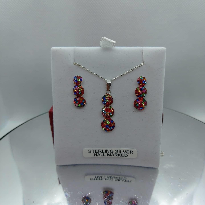 Sterling Silver Swarovski Pendant & Earring Set     Image
