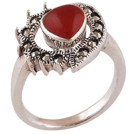 Heart Ring Sterling Silver Marcasite & Carnelian Ring size 7 Image