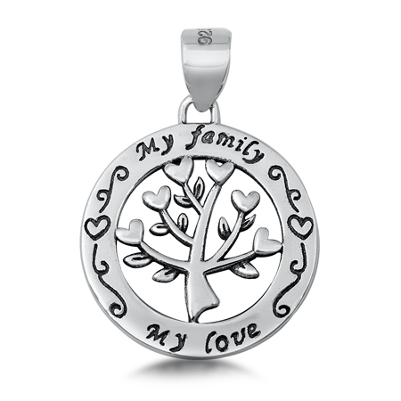 My Family My Love Heart Tree of Life Silver Necklace Image
