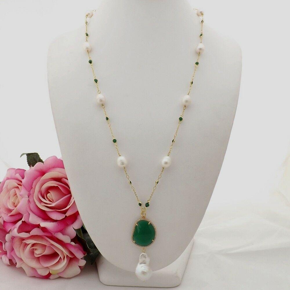 Cultured Freshwater, White Keshi Pearl Pearl Rice Pendant, Green Crystal! Image