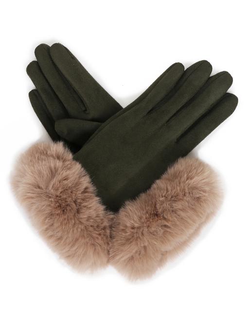 Ladies Sage Suede Ladies Gloves with a soft light brown Fur Cuff Image