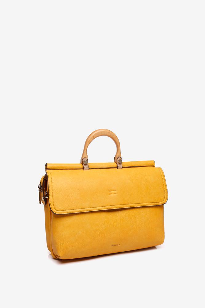 bbacino Yellow Leather Handbag with a wooden handle Image