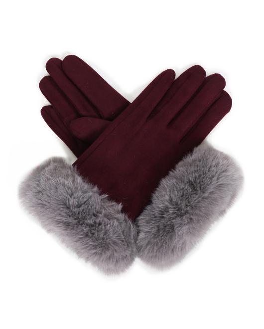 Ladies Raspberry Suede Glove with Soft Lite Grey Fur Cuff Image