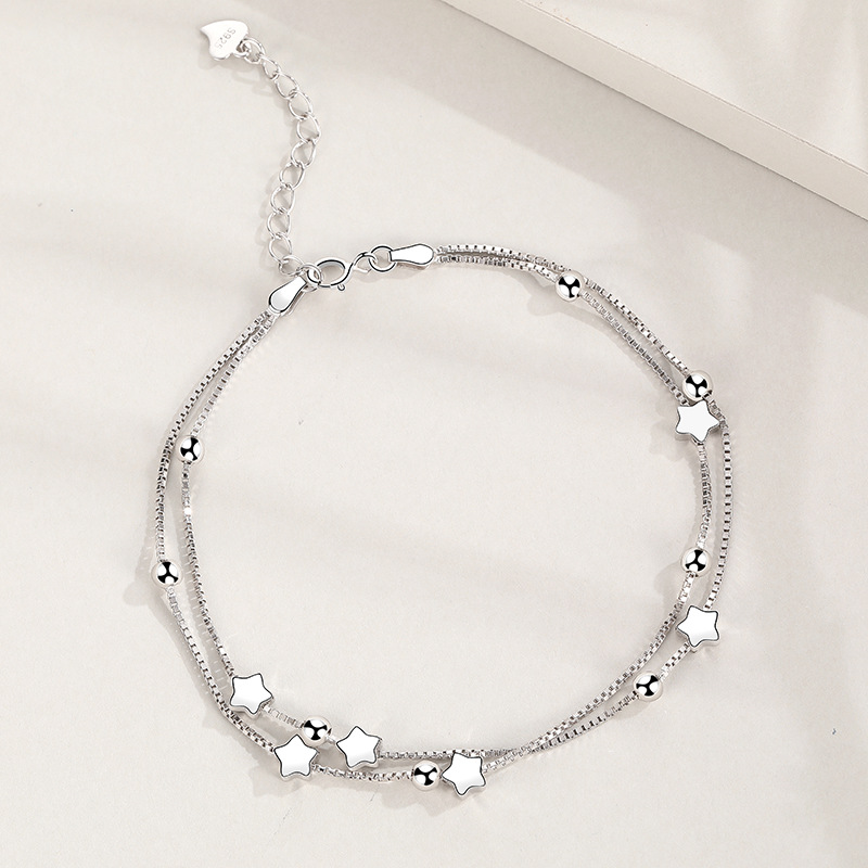 Sterling Silver Bracelet with Ball & Star Beads(18cm-22cm) Image
