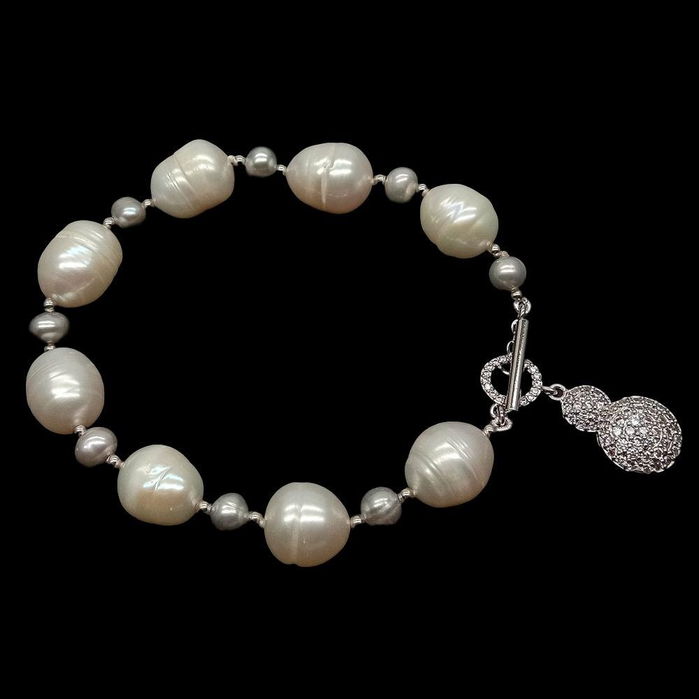 Cultured freshwater, white rice pearl, pearl round gray, good quality! Image