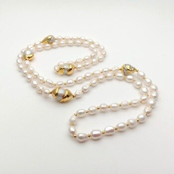 """42 """"White Keshi Pearl Gold Color Plated Long Connector Necklace Image"""