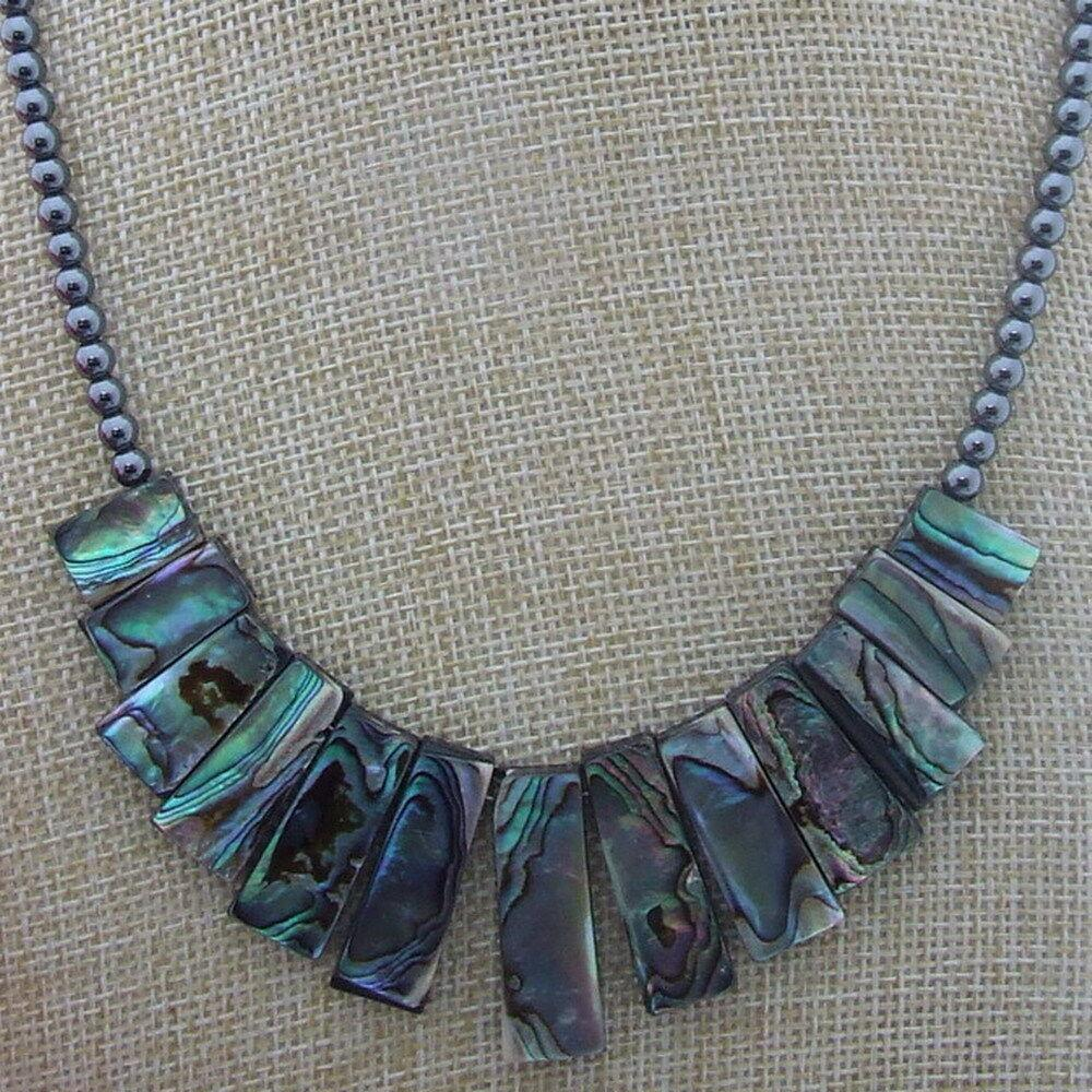 """18"""" Top drilled paua abalone shell, round hematite, good quality, Necklace! Image"""