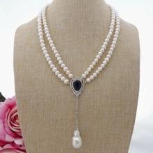 Jewelry 20 '' 2 Strands White Pearl Blue Heart Pendant Necklace Image