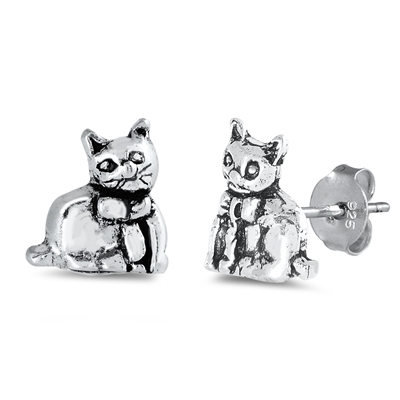 Cat  Silver Stud Earrings  Image