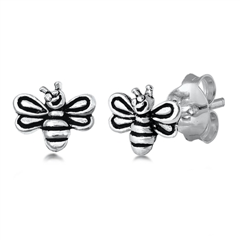Silver Studs Earrings - Bumble Bee Image