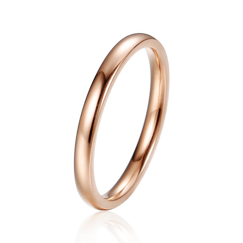 Rose Gold 2MM Thin Stainless Steel Stackable Band Image