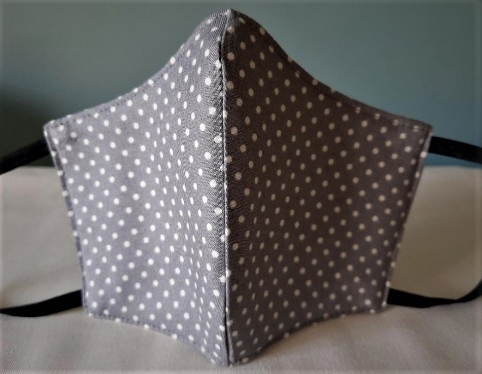 Facemask Slate Grey Polkadot  (Size Young Adult) Image