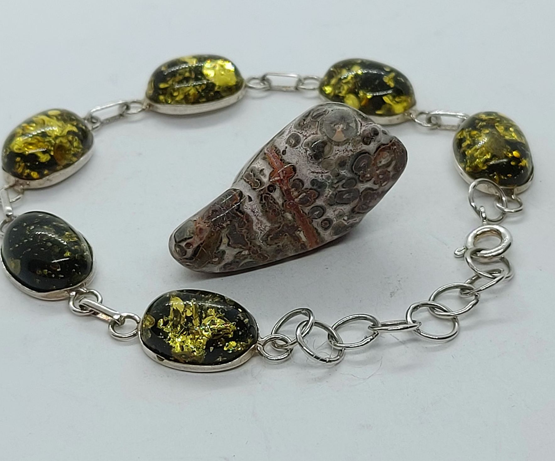 """Sterling Silver Green Amber Bracelet  7.7"""" Image"""