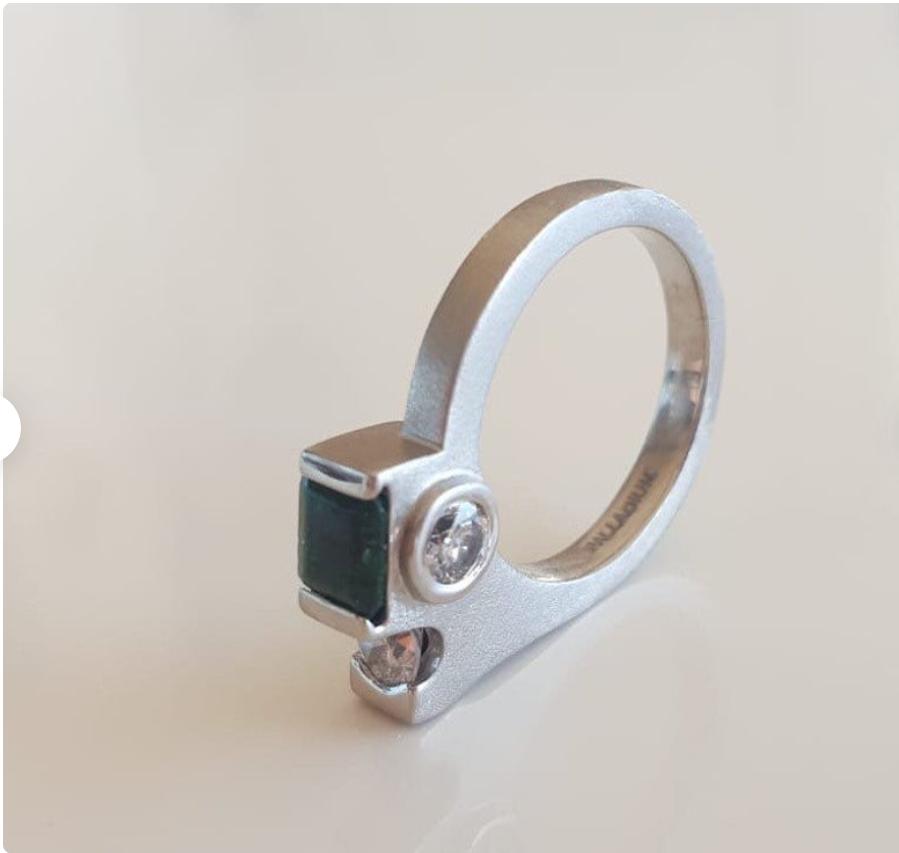 remodelled Palladium diamonds and emerald ring Image