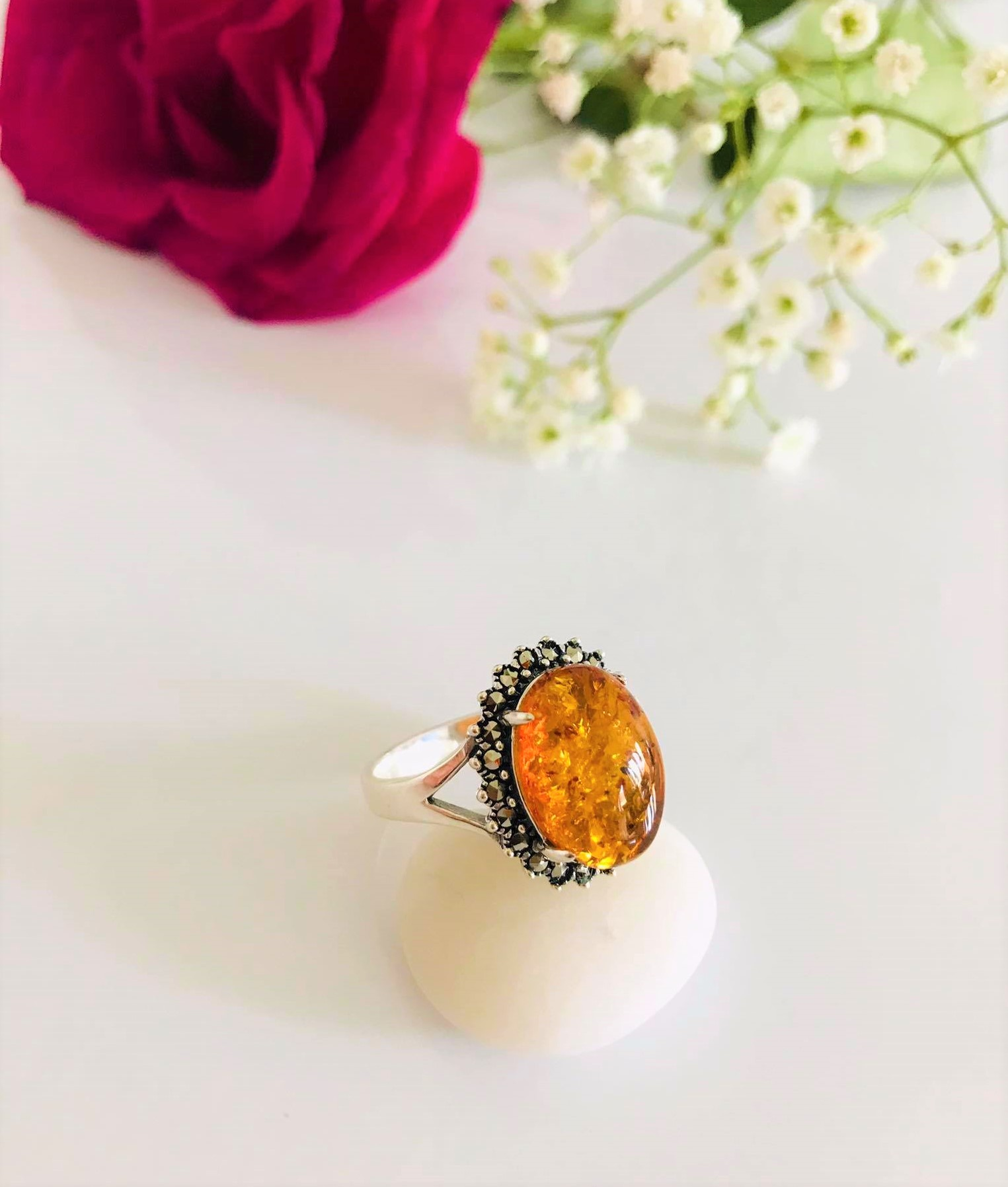 Gorgeous Oval High Polished Amber Surrounded by Marcasite Ring. Size:7 , 8  , 9 , Image