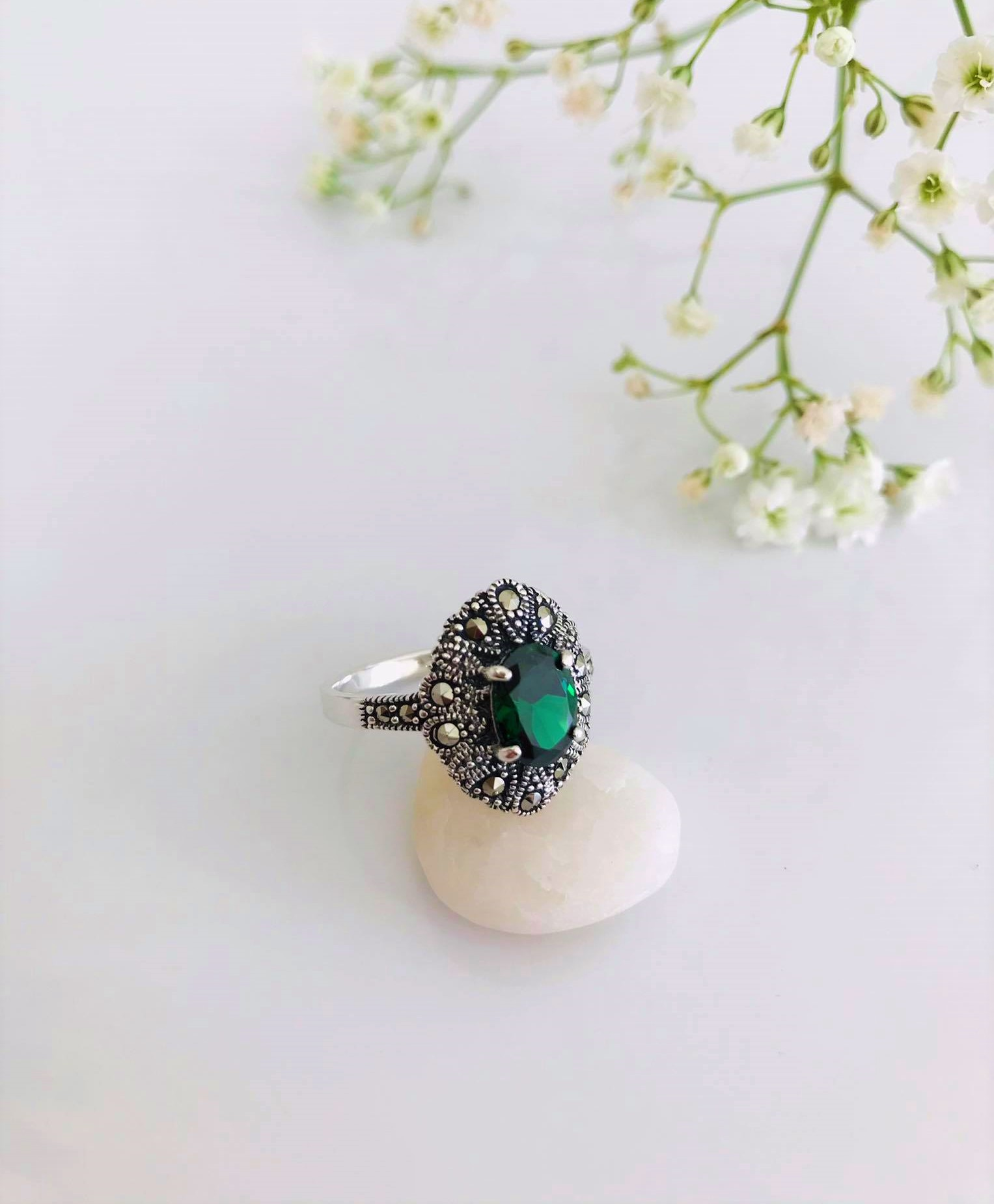 Elegant Vintage sterling Silver Emerald and Marcasite Ring. US Size: 7 , 8 Image