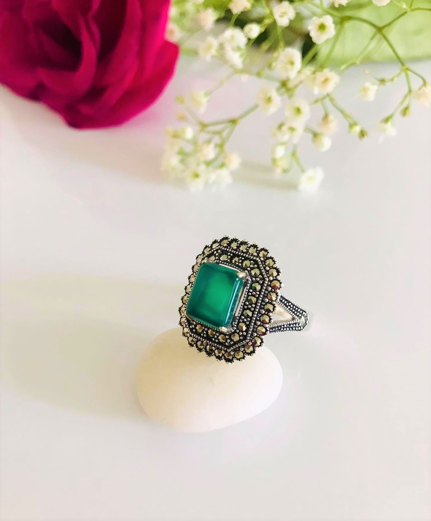 Octagon Green Onyx with Double Halo Marcasite Ring. US Size: 7 . 8  Image