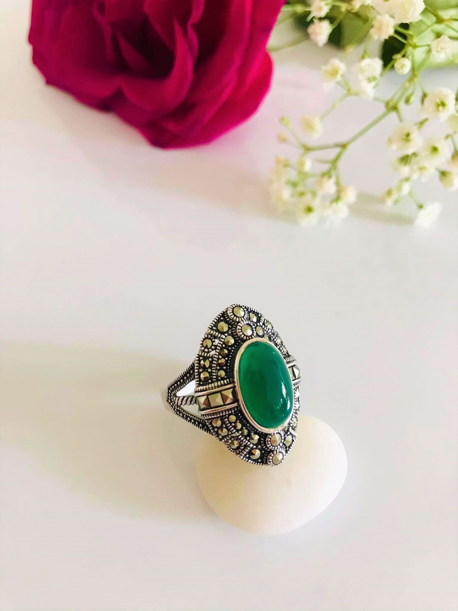 Stunning Oval Green Onyx Surrounded by Swarovski Marcasite Ring . Size:  7,  8 , 9 available Image