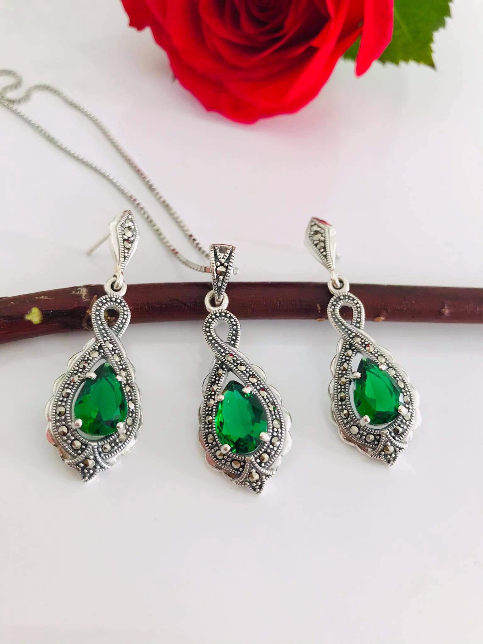 Timeless Infinity Teardrop cutting Created Emerald with Swarovski Marcasite Earrings and Necklace 18 or 20 inch chain Image