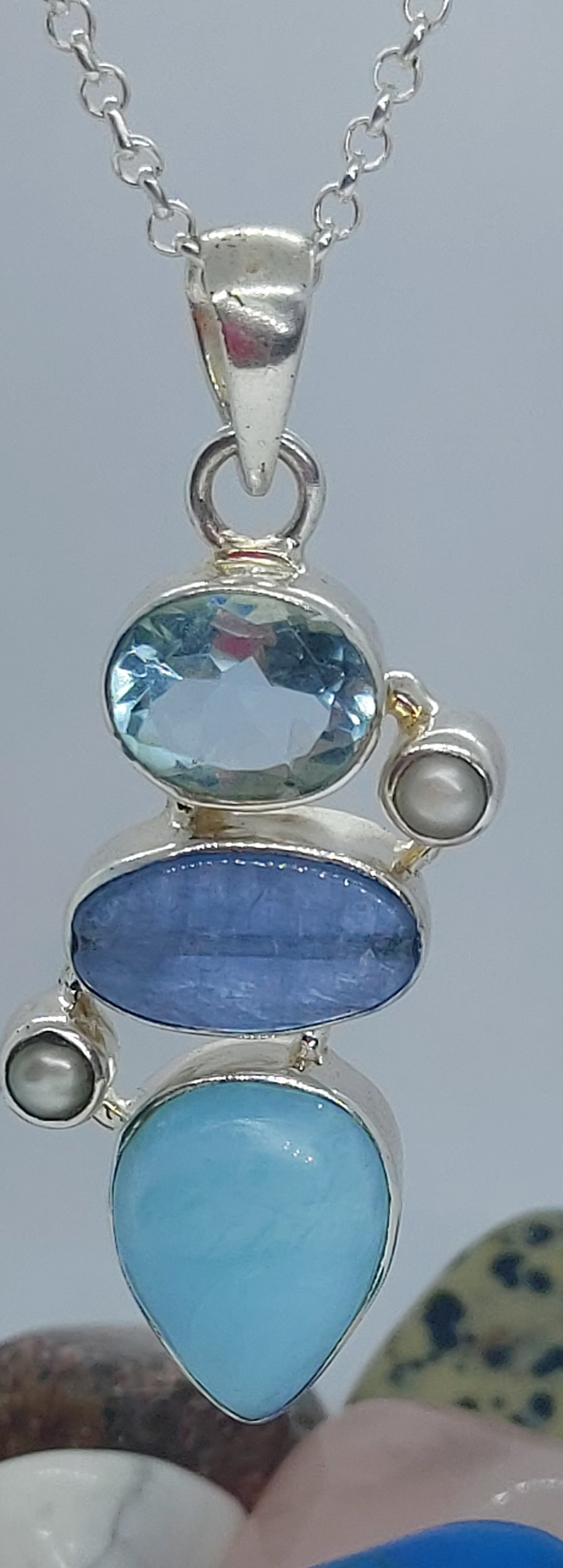 "Sterling Silver  Larimar, Blue Kyanite, Blue Topaz & Pearl Pendant on 22"" chain  Image"