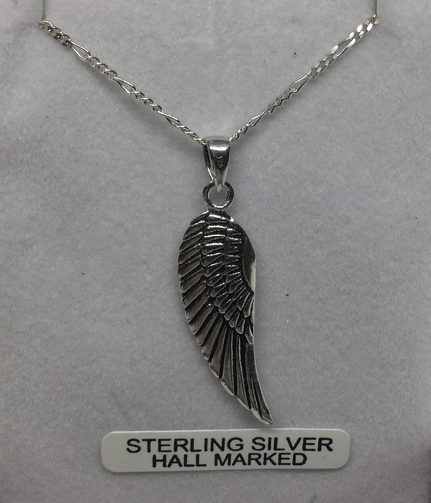 """Sterling Silver Angel wing 20""""chain  Image"""