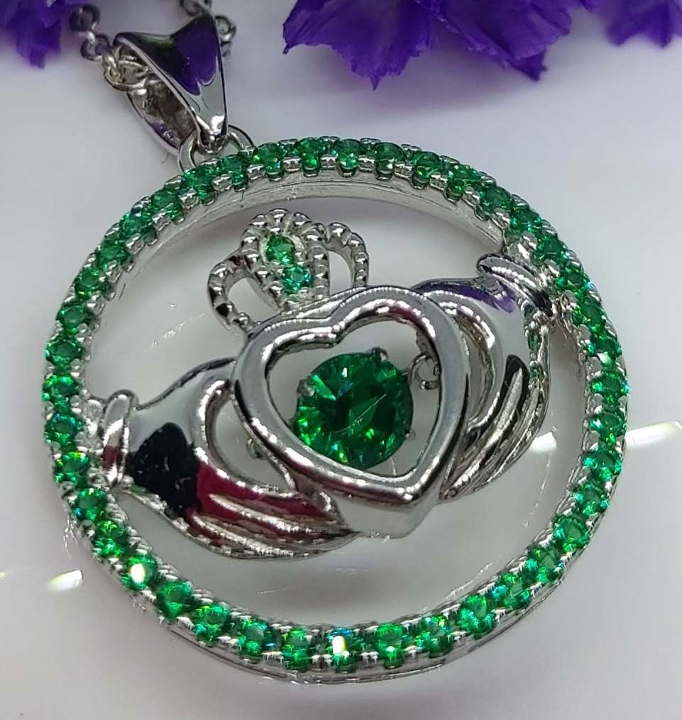 Sterling Silver Claddagh Dance Pendant (Green Crystal) Image