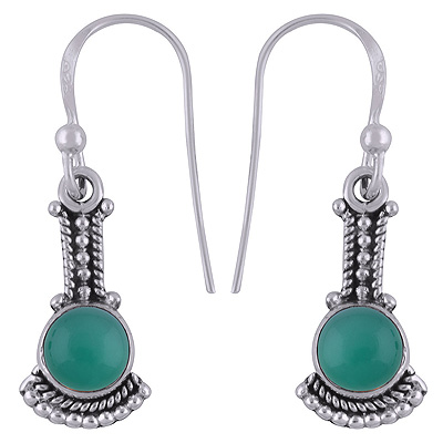 Sterling Silver Green Onyx Earrings  Image
