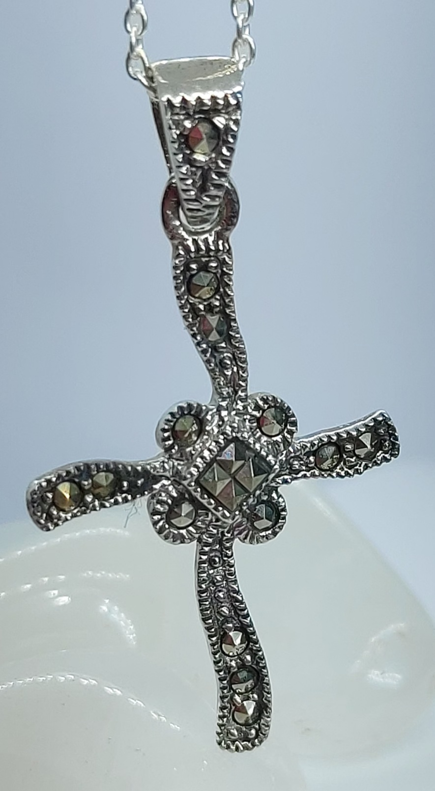 """Sterling Silver Marcasite Cross 20"""" chain  Image"""
