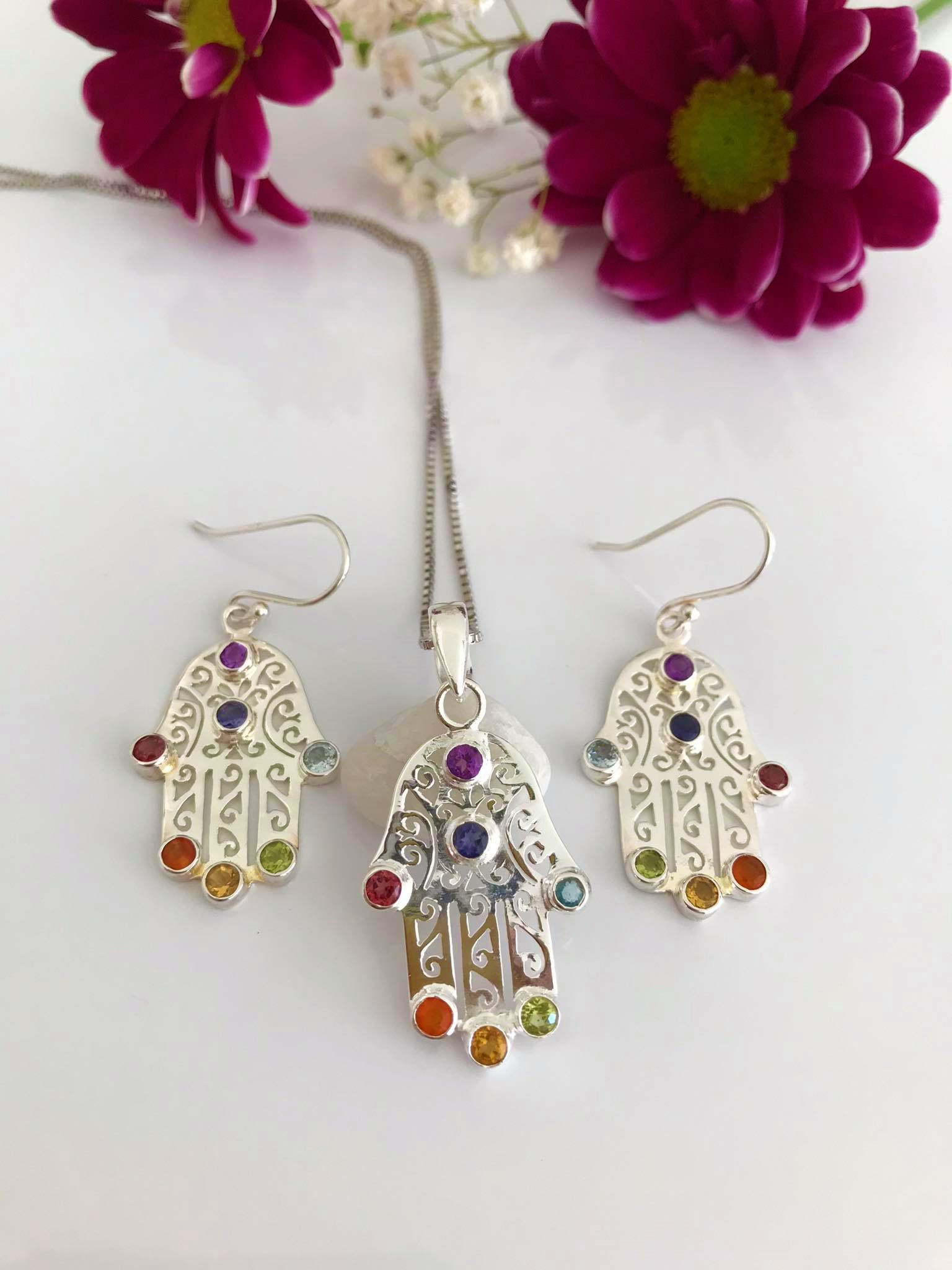 Hamsa Hand Earrings and Necklace SET Image