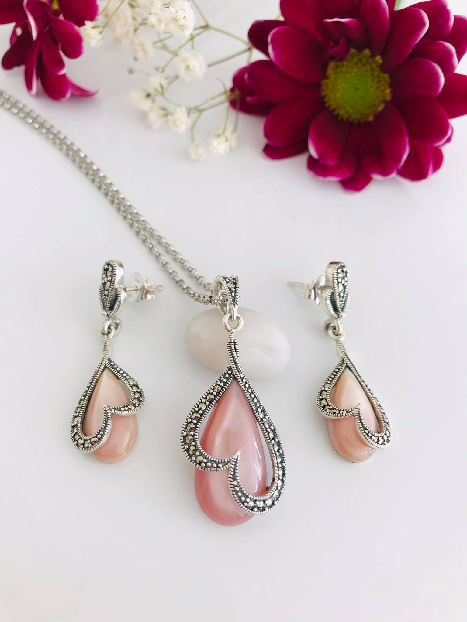 Pink Mother of Pearl and Marcasite Silver SET Image