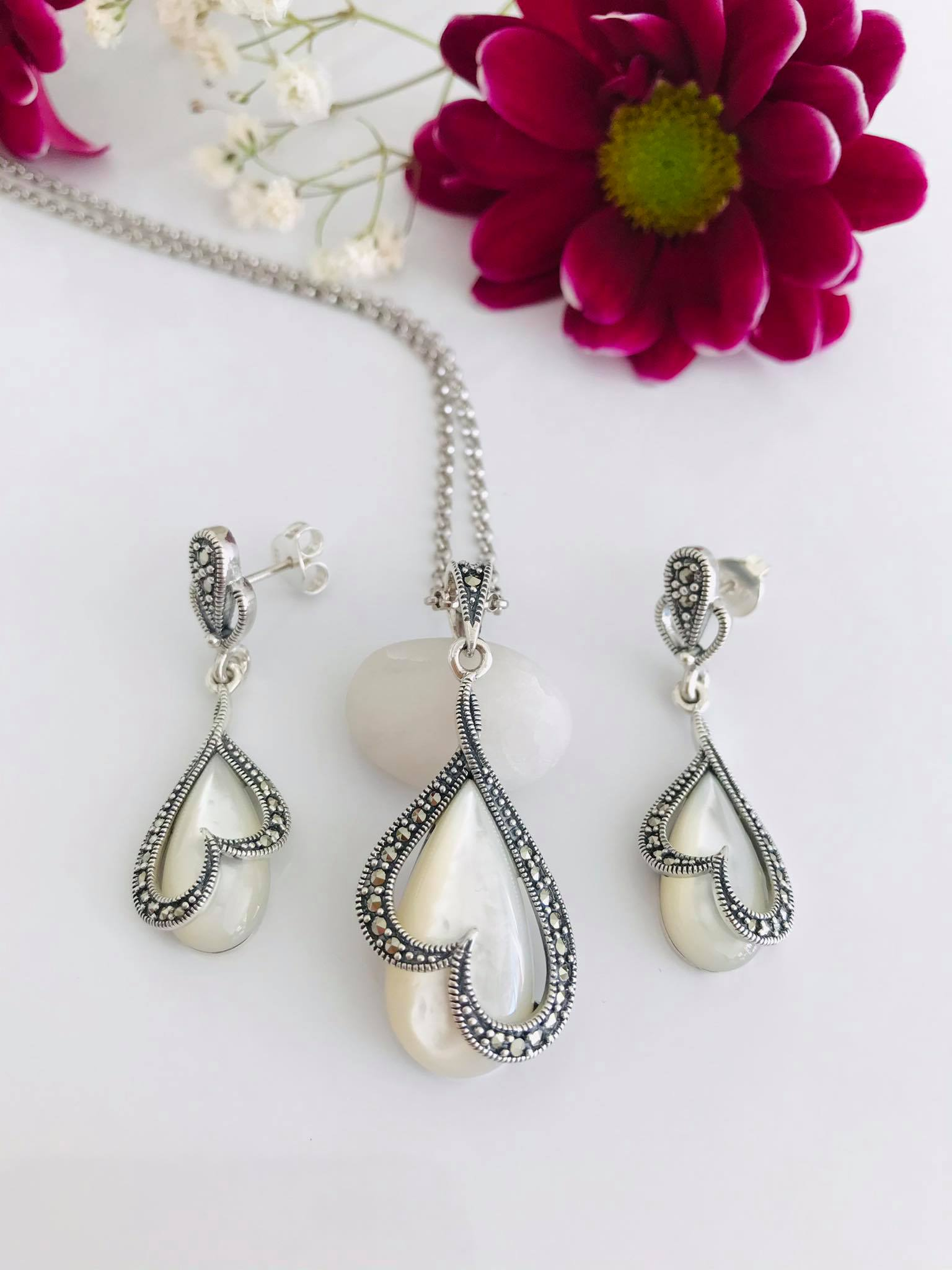 Mother of Pearl and Marcasite Silver SET Image