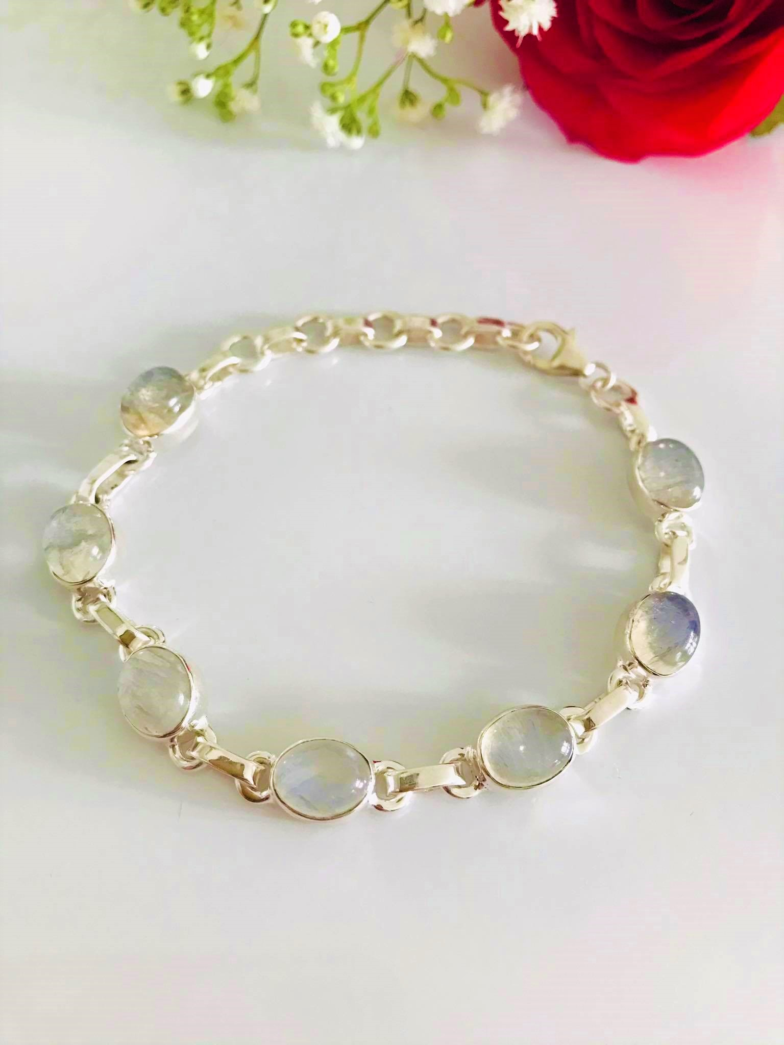 Gorgeous High Polished Oval Rainbow Moonstone Bracelet Sterling Silver Image