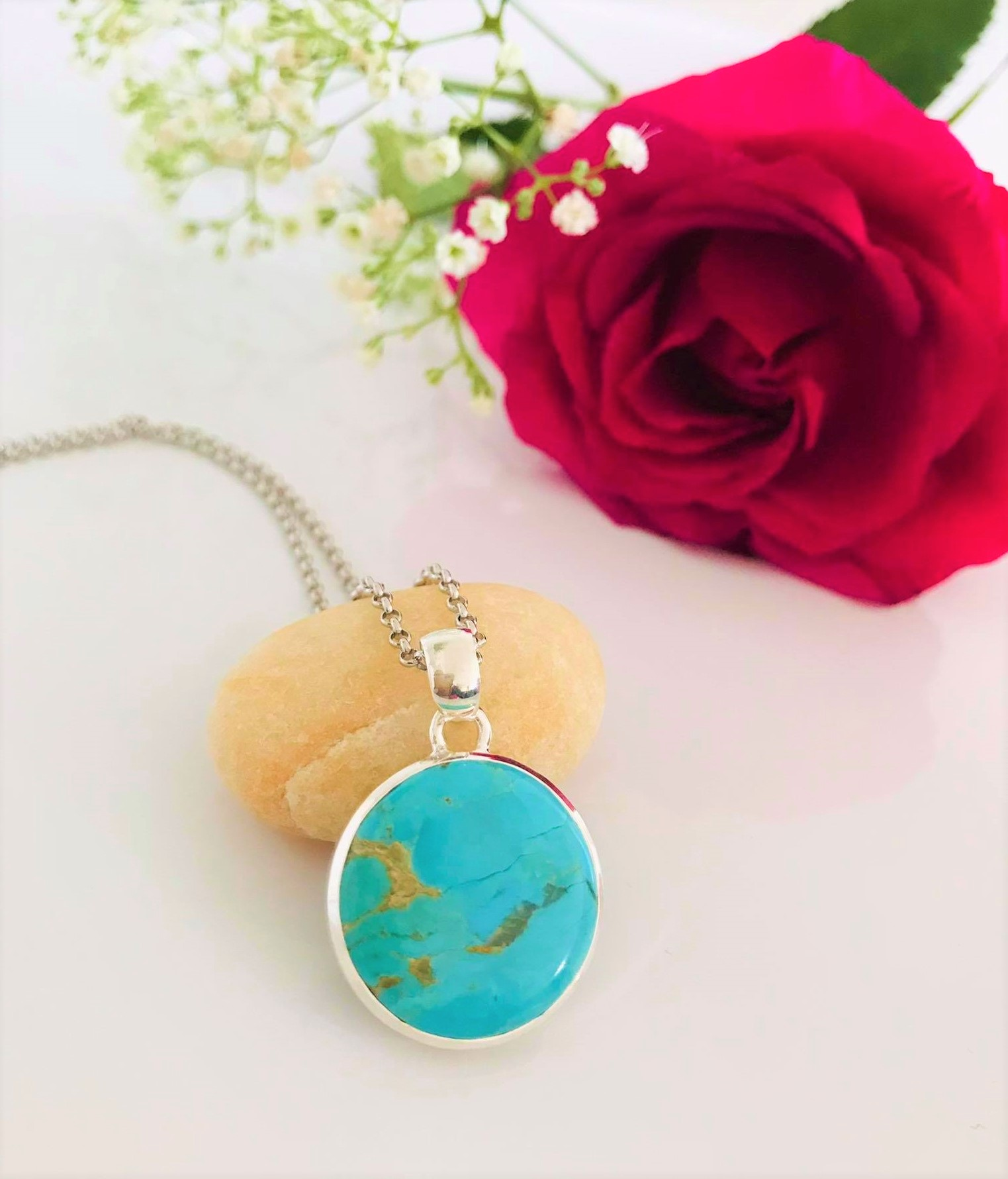 Round Turquoise Sterling Silver Pendant & Chain Image