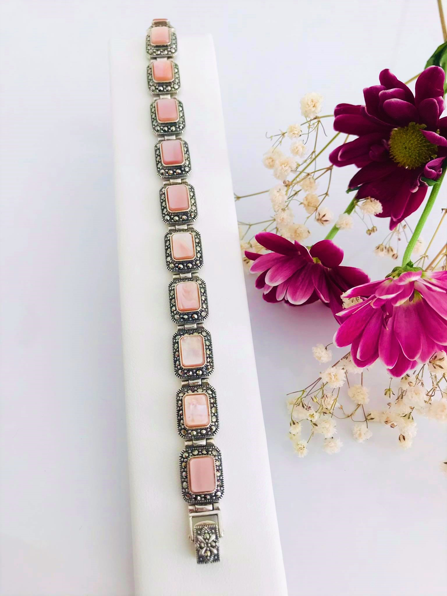 Pink Mother of Pearl and Marcasite  Silver Bracelet Image