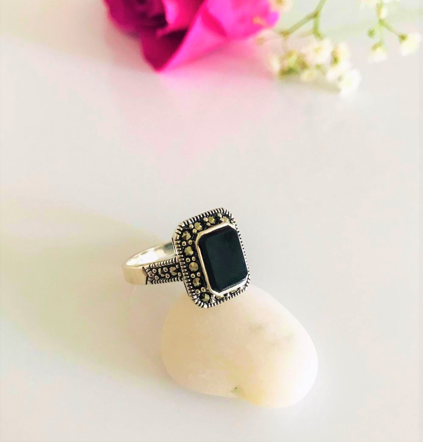 Black Onyx with Marcasite Set in Sterling Silver Ring Image