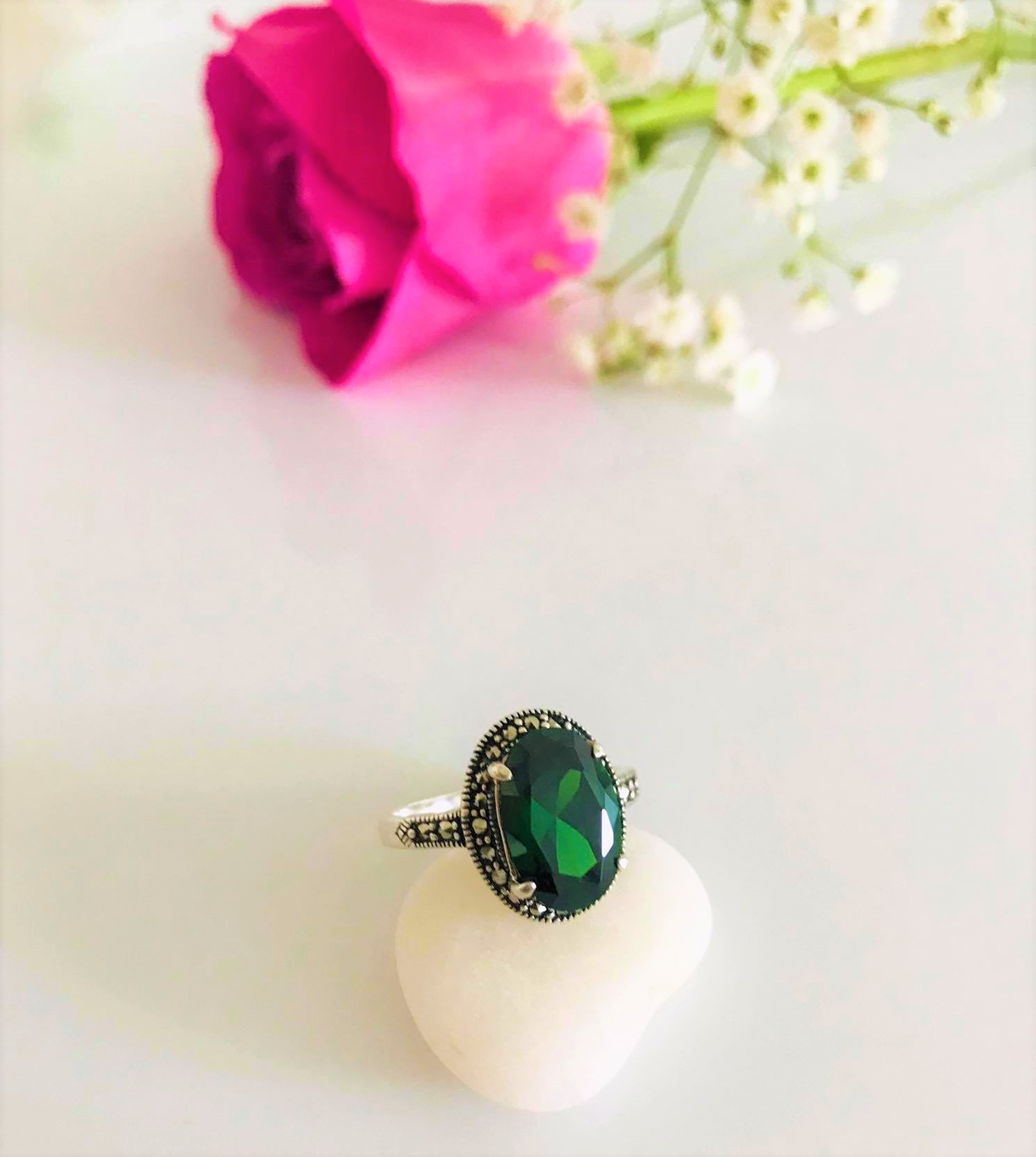 Stunning Oval Cut Emerald   Marcasite Halo  Sterling Silver Ring. US Size: 6 , 7, 9, 10  Available Image