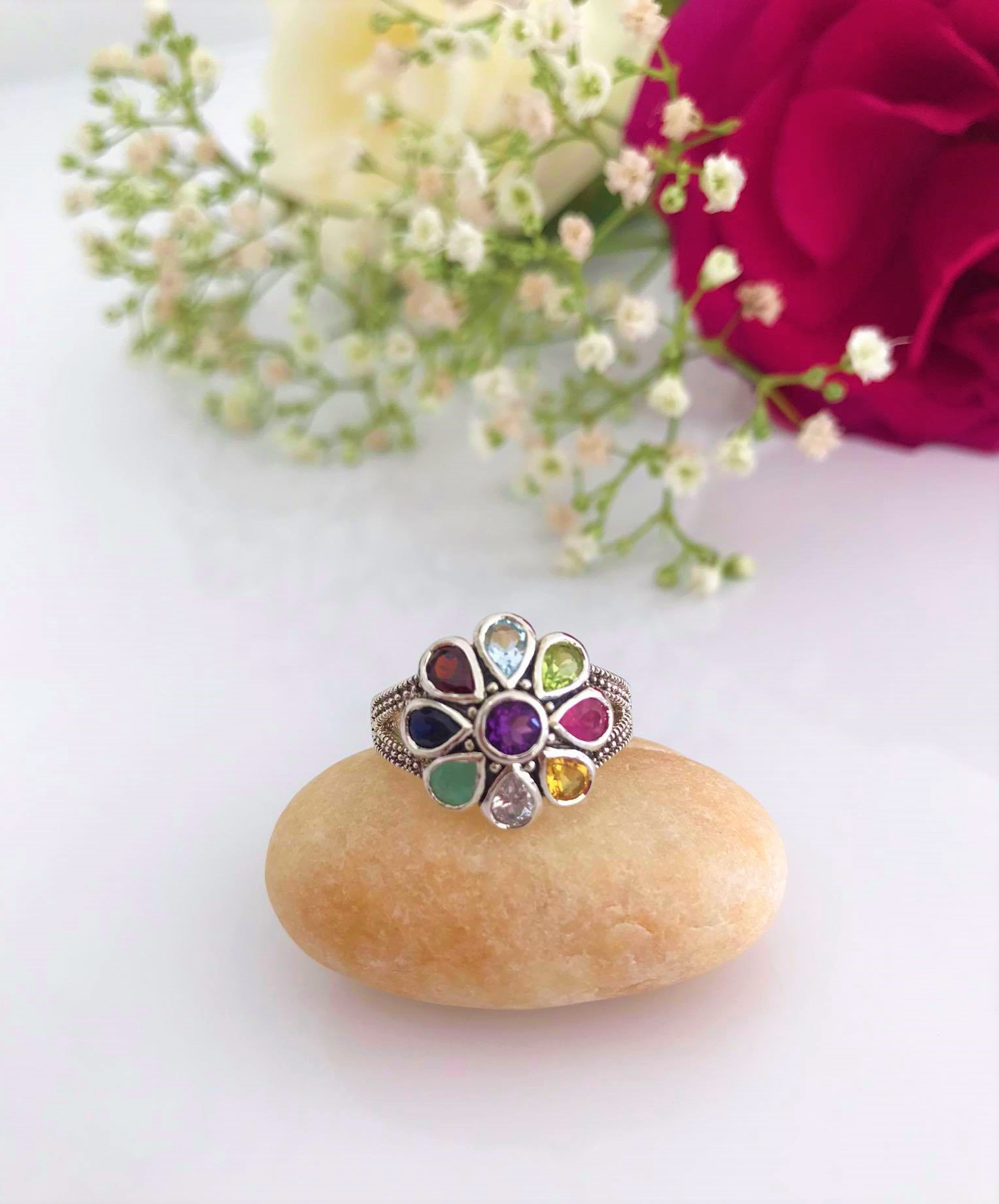 Gorgeous 9 different Gem Stones Sterling Silver Ring. US Size: #5 ,#6,#7,#8,#9 Image
