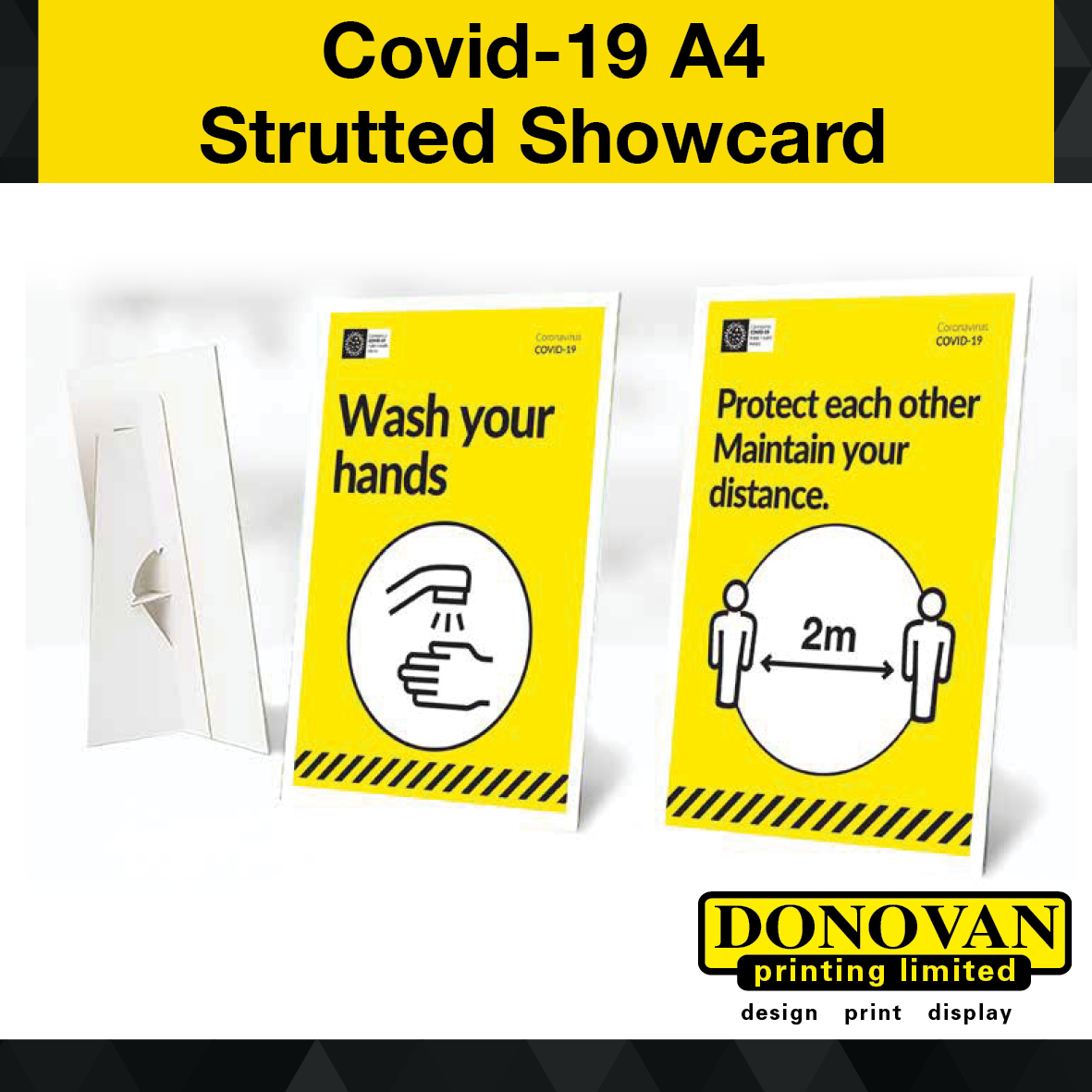 Covid A4 Strutted Showcard Image