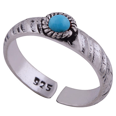 Sterling Silver Turquoise Toe Ring  Image