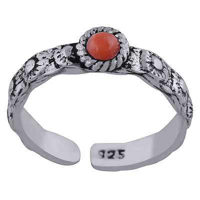 Sterling Silver Coral Toe Ring  Image