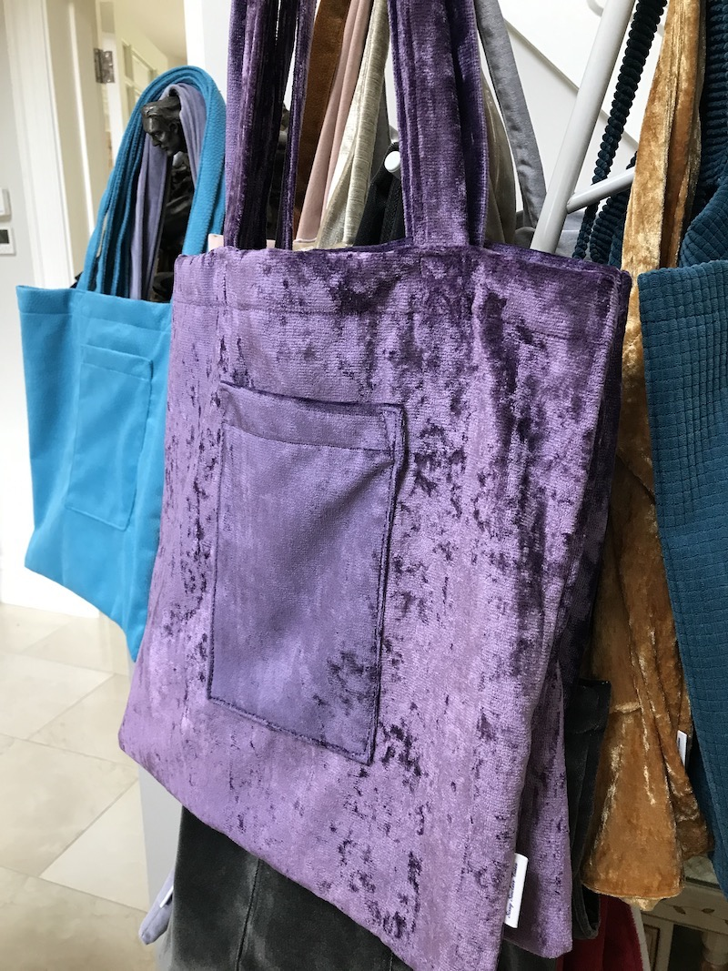 Classic Sissy Tote in Purple Crushed Velvet Image