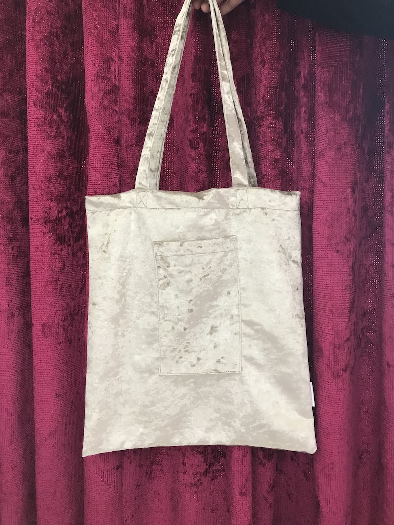 Classic Sissy Tote in Silver crushed Velvet Image